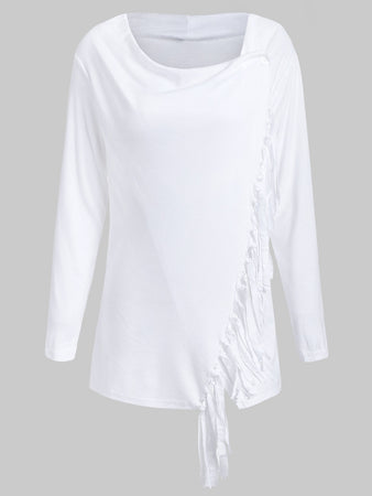 Tassel Asymmetric Long Sleeve Top