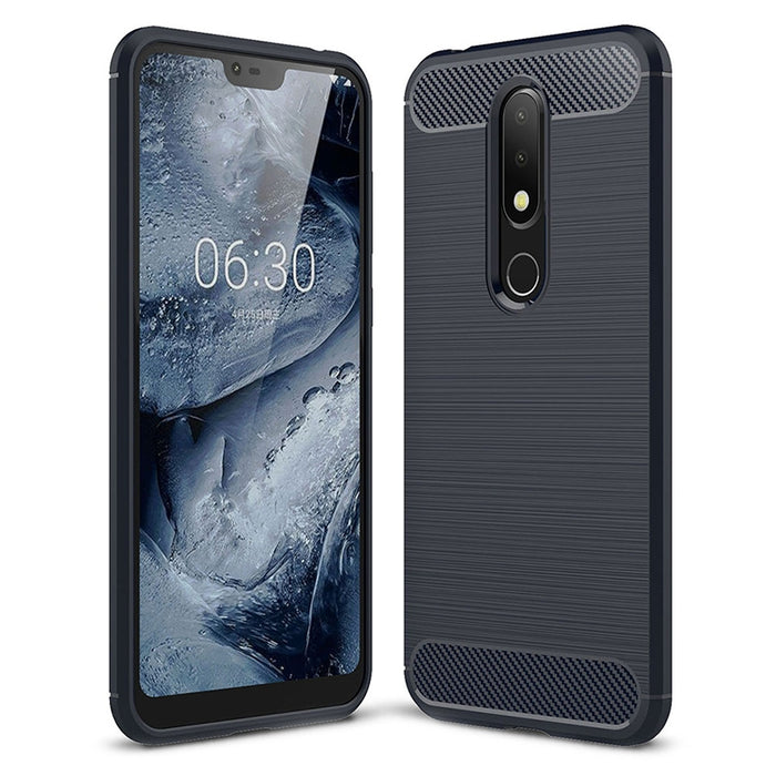 ASLING Carbon Fiber TPU Back Protective Case for Nokia X6