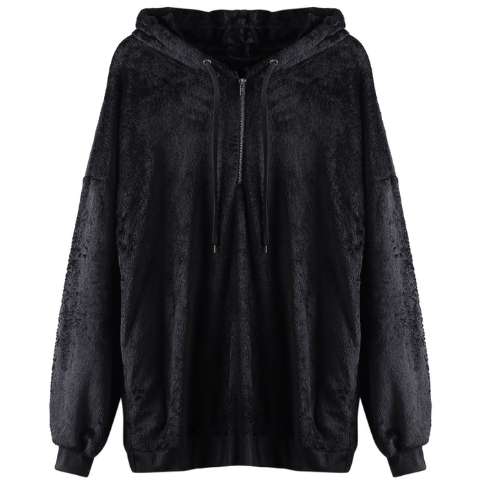 Hooded Long Sleeve Fleece Loose Zipper Pocket Solid Color Women Hoodie
