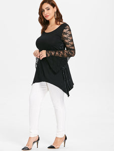 Plus Size Lace Long Sleeve Halloween T-shirt