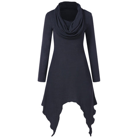 Cowl Neck Full Sleeve Handkerchief Dress