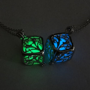 Charm Silver Cube Light Necklace Women Glowing Pendant Jewelry