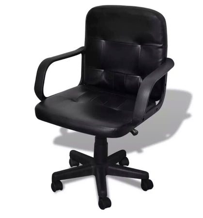 Black Mixed Leather Office Chair 59 x 51 x 81 - 89 cm 20076