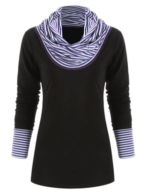 Striped Panel Long Sleeve Top