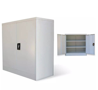 vidaXL Office Cabinet 2 Doors 90cm Grey Metal 20114