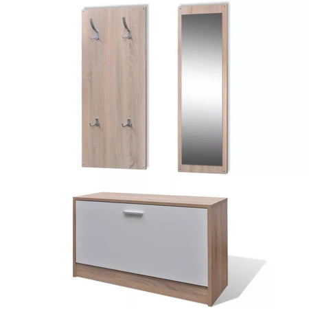 Oak and White 3-in-1 Wooden Shoe Cabinet Set 241246