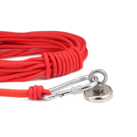 Multipurpose Magnet Fishing Rescue Safety Rope Rock Climbing Cord with Carabiner