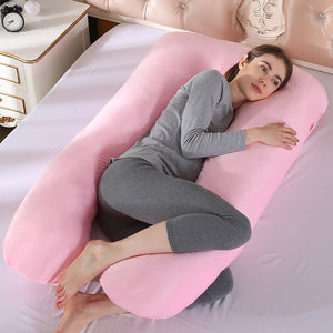 Crystal Velvet U Shape Maternity Sleeping Support Pillow for Side Sleeper Pregnant Women