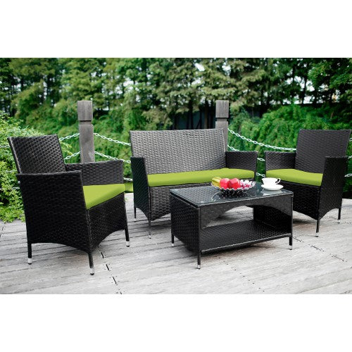 4 PCS Patio Furniture Outdoor Garden Conversation Wicker Sofa Set, Green Cushions