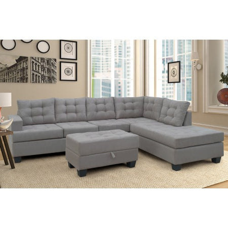Sofa 3-Piece Sectional Sofa with Chaise Lounge and Storage Ottoman L Shape Couch Living Room Furniture