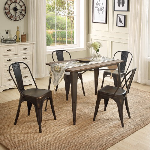 5-Piece Metal Dining Set with Solid Wood