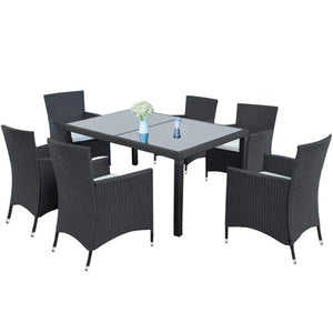 7-piece Outdoor Wicker Dining set - Dining table set for 6 - Patio Rattan Furniture Set with Beige Cushion