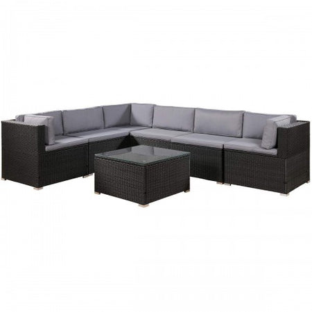 7-Piece Furniture Set Outdoor Sectional Conversation Set with Soft Cushions