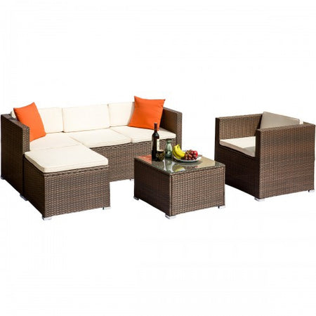 Rattan  Furniture Set Wicker Sofa Cushioned Sectional Furniture Set Garden Patio Sofa Set