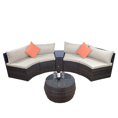 6-Piece Furniture Sets, Outdoor Sectional Furniture Wicker Sofa Set with Two Pillows and Coffee Table