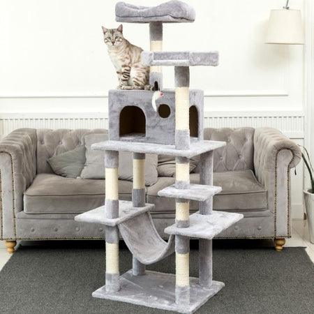 "63.8""Multi-Level Cat Tree with Sisal-Covered Scratcher Slope, Scratching Posts, Plush Perches and Condo, Activity Center Furniture - for Kittens, Cats and Pets"