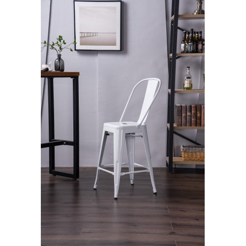 "24"" high white metal indoor outdoor dining chair 4pcs"