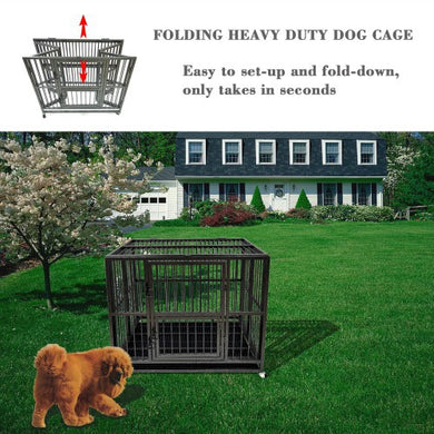 43'' Heavy Duty Dog Cage Strong Folding Metal Crate Kennel and Playpen for Medium and Large Dogs with Double Door Tray and Rolling Wheels