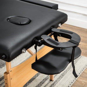 New Black 84&quot Folding Portable Massage Table / Free Carry Case Bed Spa Facial Wooden 2 Section Right Angle
