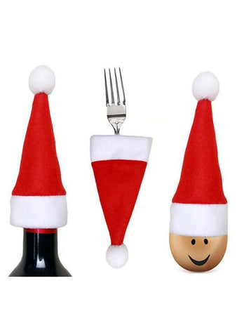 10PCS Christmas Hat Tableware Decorations