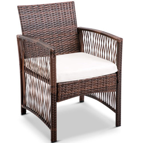 4 PC Hollow Stripe Rattan Patio Furniture Set with Tempered Glass Table Top