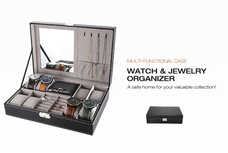 Multifunctional 8  Watch Display PU Leather Box Jewelry Case Storage Organizer