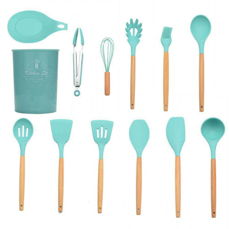 9 / 11 / 12PCS Nonstick Silicone Cooking Baking Utensil Turner Tongs Spatula Spoon Kitchen Tools with Storage Box