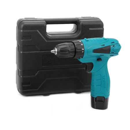 12V Electric Drill Cordless Screwdriver Set with Carrying Case Li-ion Battery