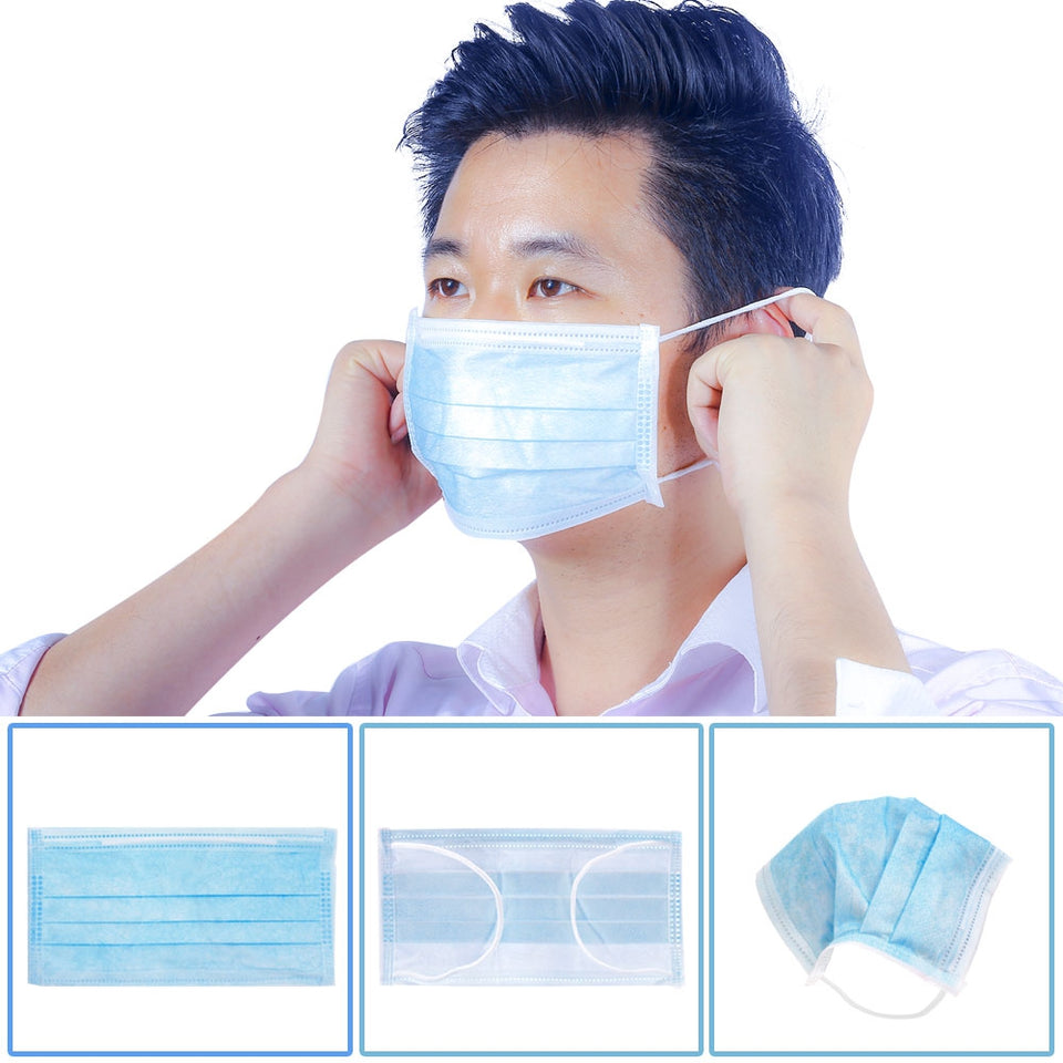 50PCS 3-layer Face Masks Elastic Earloop Dustproof Anti-bacteria Disposable Protection for Health Care