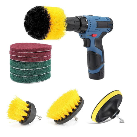 10pcs Drill Brush Attachments with Scouring Pads for Bathroom Kitchen Cleaning
