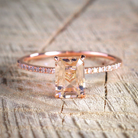 2pce Rose Gold Wedding and Engagement Set
