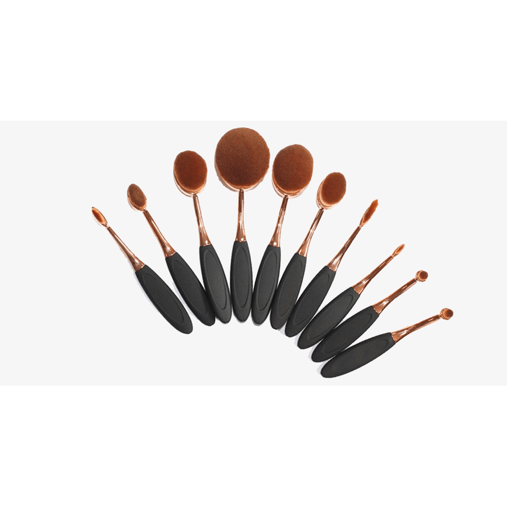 10 Piece Black and Gold Oval Brush Set (Ships From USA)