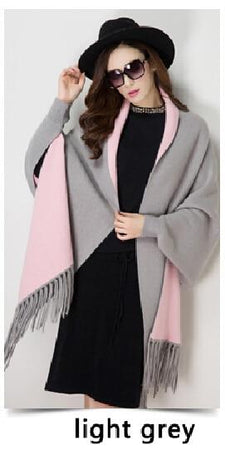 Cashmere Tassel Batwing Sleeve Scarf Cape