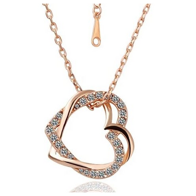Crystal Double Heart Necklaces (Ships from USA)