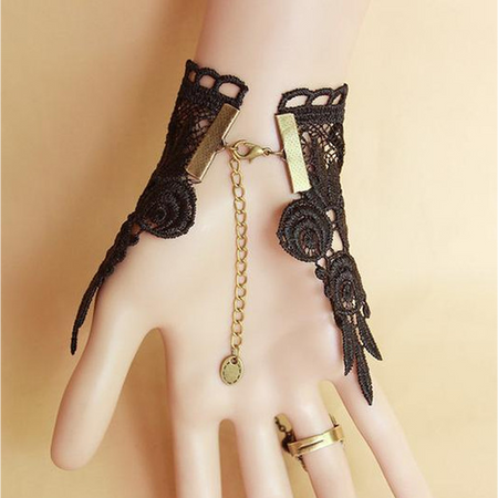 Midnight Lace Ring-to-Wrist Bracelet (Ships From USA)