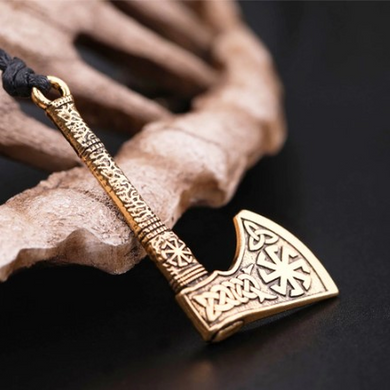 Antique Silver Plated Viking Axe Pendant