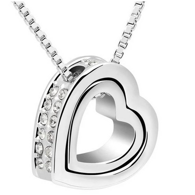 Double Heart Pendant - White Gold (Ships from USA)