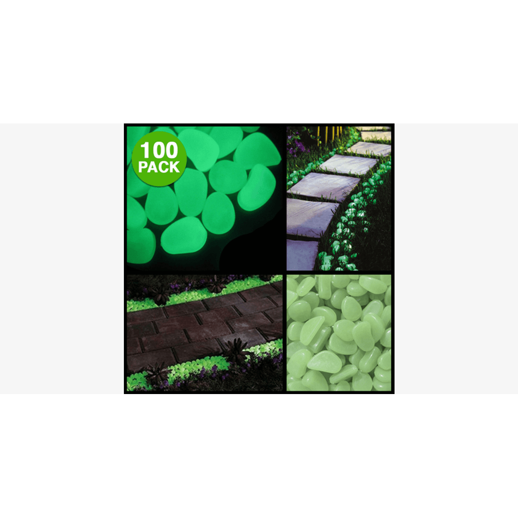 100-Pack: Glow in the Dark Garden Pebbles (Ships From USA)