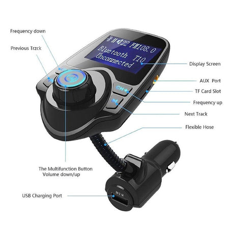 Charger USB Car Cigarette Lighter Adapter Chargers Wireless In-Car Bluetooth FM Transmitter MP3 Radio Adapter Car Kit USB Ch