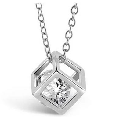Cube Necklace - White Gold (Ships from USA)