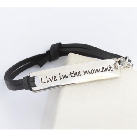 Live In The Moment Leather Strap Bracelet (Ships From USA)