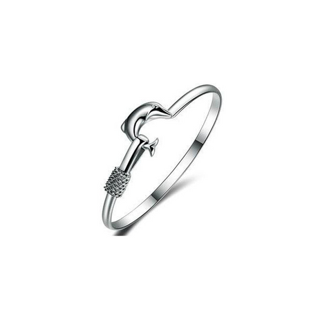 Dolphin Simple Love Bangle (Ships from USA)