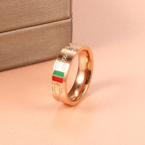 Woman Stainess Steel Rings Man Wedding Party Classic Gold Plating Charming 8 pattern Finger Ring Luxury Brand Wedding Jewelry