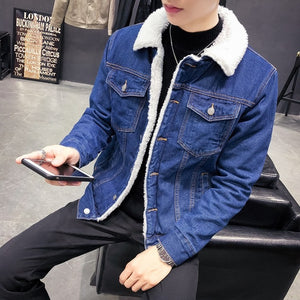 Luxury Fleece Thick Casual Jeans Jacket