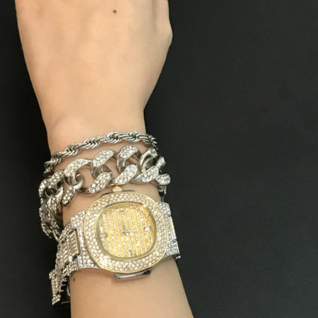 2cm Hip Hop Men Bracelets Gold Color Iced Out Crystal Miami Cuban Chain Gold Silver Men watch +Bracelet set Hip Hop King New