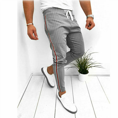 New Striped Pencil Pants Mens 2019 Casual Drawstring Trousers Male Street Fashion Breathable All-match Trousers Male Clothing