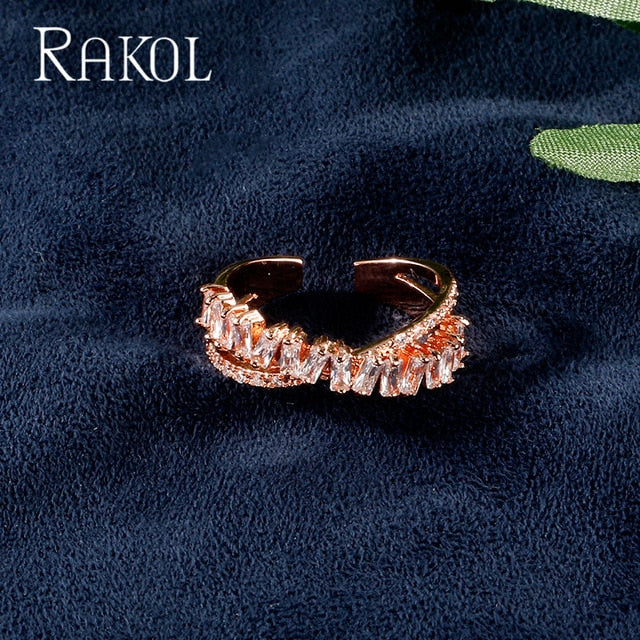 RAKOL Luxury Baguette AAA Cubic Zircon Bridal Open Ring Charms For Women Wedding Finger Jewelry T Shape Stone Rings RR203L