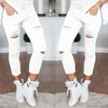 Women High Waist Denim Stretch Skinny Ripped Jeans