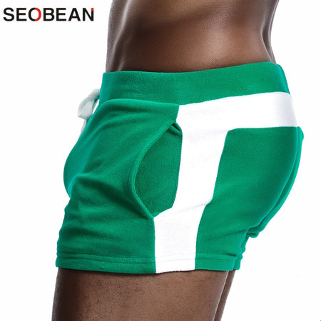 SEOBEAN Men Homewear Shorts Sexy Low Waist Cotton Super Soft Comfortable Home Male Panties Boxer Shorts Casual Short Pants