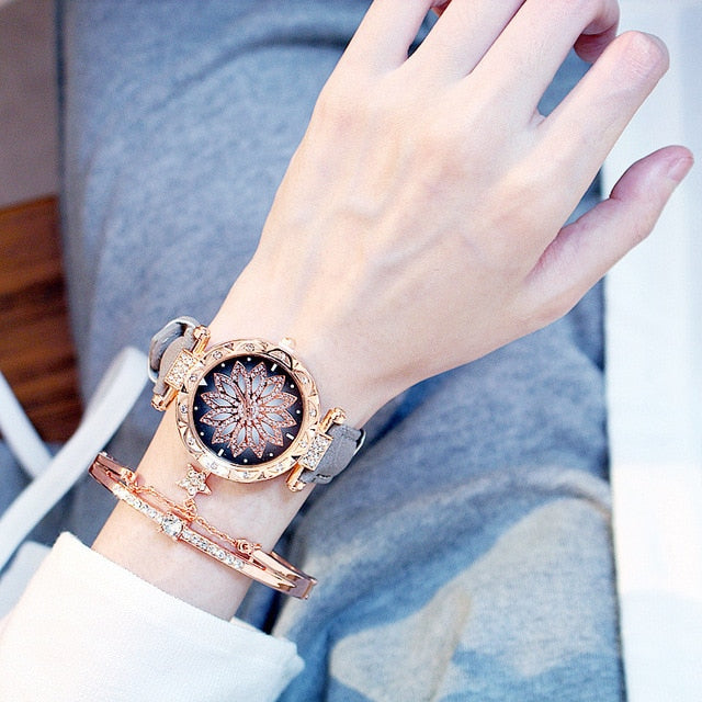 Flower Diamond Luxury Fashion Women Watch Drop Shipping  Mesh  pink leather Clock Elegant Ladies Dress Wristwatches Gift